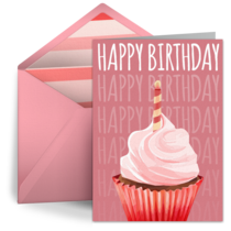 Birthday Cupcake Pink card image