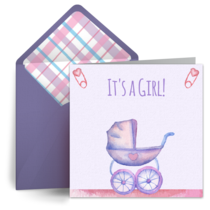 Baby Carriage (Girl) card image
