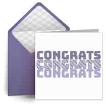 Congratulations Purple Stripe card image
