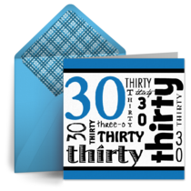 Wordy 30th Birthday  card image
