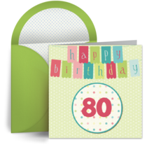 80th Birthday Banner card image