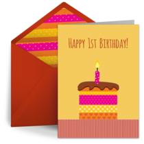 Milestone First Birthday card image