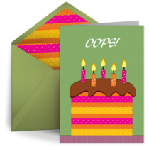 Belated Birthday Cake card image