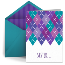 Birthday Argyle for Sister card image