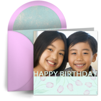 Birthday Photo with Tulips card image