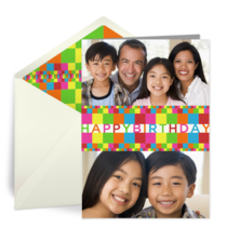 Rainbow Blocks Birthday Photo card image