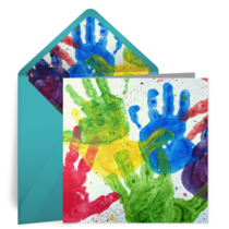 Paint Handprints card image