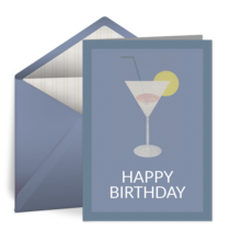 Vintage Birthday Martini card image