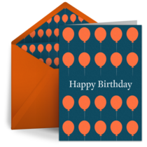 Orange Birthday Balloons card image