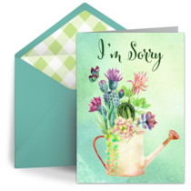 Sorry Watering Can card image