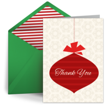 Holiday Thank You Ornament card image