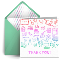 Teacher Doodle Thank You card image