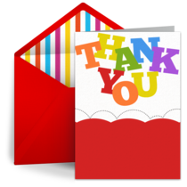 Rainbow Thank You card image