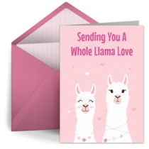 Sending A Whole Llama Love Hearts card image