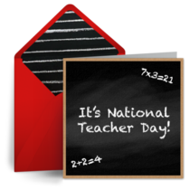 Chalkboard Teacher Day card image