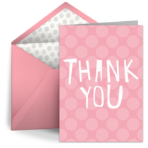 Pink Dots Teacher Thanks card image
