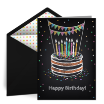 Birthday Cake Chalkboard card image