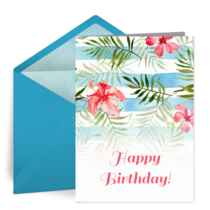 Tropical Birthday card image