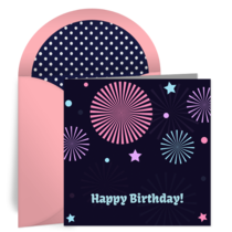 Happy Birthday Fireworks card image