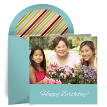 Blue Birthday Photo card image