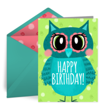 Happy Birthday Owl card image