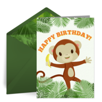 Happy Birthday Monkey card image