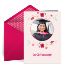 Floral Grad Announcement card image