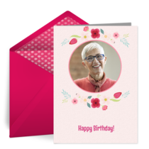 Happy Birthday Floral Photo card image