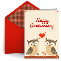 Anniversary Owls card image