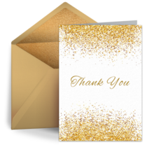 Golden Glitter Thank You card image
