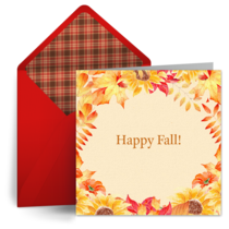 Fall Equinox Autumn Leaves card image