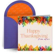 Thanksgiving from Afar card image