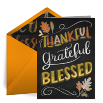 Thankful, Grateful, Blessed card image