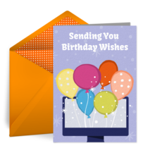 Computer Birthday Balloon card image