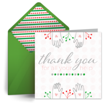 Holiday Thank You For Your Help card image