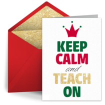 Teacher Keep Calm card image