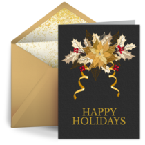Business Foil Poinsettia card image
