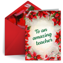 Thank You Teacher Poinsettia card image