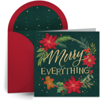 Festive Wreath Thank You card image
