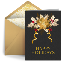 Business Thank You Poinsettia card image