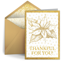 Gold Poinsettia Thank You card image
