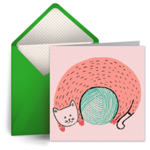 Ball of Yarn Thanks card image