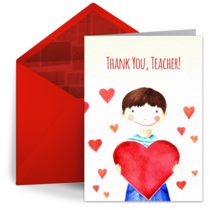 Teacher Holiday Heart card image