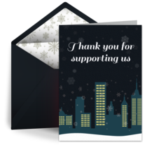 Snowy City Thanks card image