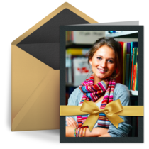 Business Holiday Bow Thanks card image