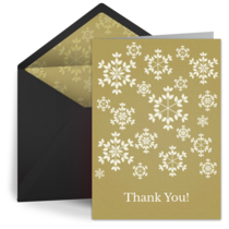 Gold Snowflake Thanks card image
