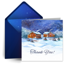 Peaceful Village Thanks card image