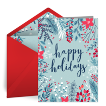 Illustrated Holiday Thanks card image