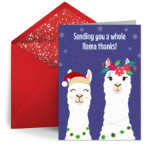 Whole Llama Thanks card image
