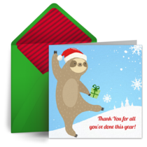 Santa Sloth Thanks card image